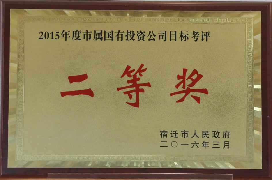 2015年度市属国有投资公司目标考核二等奖
